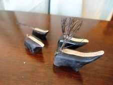 Miniature Skunk Family 4 wooden Wire Tails Figurines toys Vintage