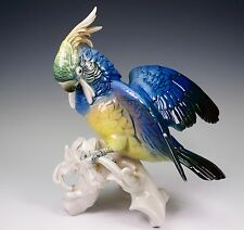Antique Karl ENS Blue Cockatoo Bird Spread Wings Porcelain Figurine 7337
