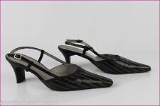 Escarpins Ouverts PETER KAISER Cuir Noir Coutures Blanches UK 6 / 39,5 TBE