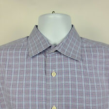 David Donahue Purple Blue Check Plaid Mens Dress Button Shirt Size 17 34/35