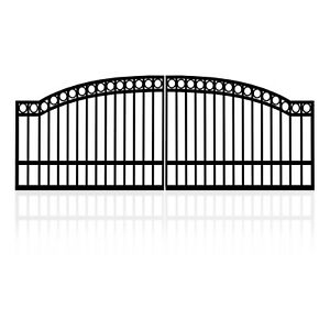 4.5m Double Arched Top Steel Gates (2x2.25m) with Rings Classic Design