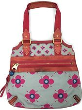 Marc Jacobs Flower Canvas Leather Pink Gray Zipper Top  Tote Bag