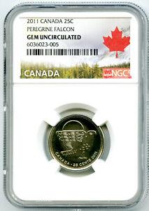 2011 CANADA 25 CENT NGC GEM UNCIRCULATED PEREGRINE FALCON QUARTER RARE