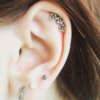 Women Chic Three Flowers Cartilage Earring Ear Stud Climber Helix Piercing Gift