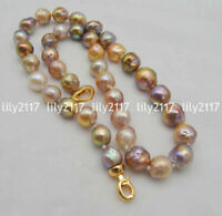 LONG 20INCH Genuine Natural 10-12mm South Sea Multi-Color Baroque Pearl Necklace