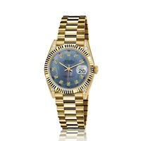 Rolex 31mm Presidential 18kt Gold Blue Tahitain MOP Mother Of Pearl Diamond Dial