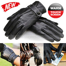 Mens Winter Warm PU Leather Black Touch Screen Gloves Full Finger For Smartphone