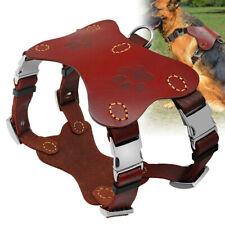 Genuine Leather Large Dog Harness Vest Walk K9 Labrador Heavy Duty 4 Buckles