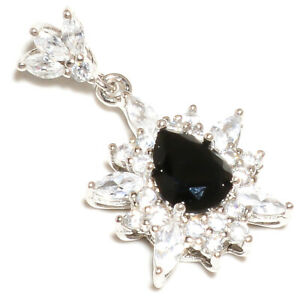 "Black Onyx & White Topaz 925 Sterling Silver Handmade Pendant Jewelry 1.20"" S282"