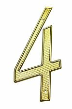 4 Inch Zinc Bright Brass Finish #4 House Numbers Home Address Plaque Number Sign