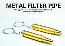 66MM Golden Bullet Shaped Metal Tobacco Smoking Pipe Key Chain
