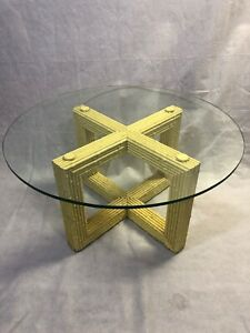 Vintage Bamboo Reed Gabriella Crespi Style Coffee Table