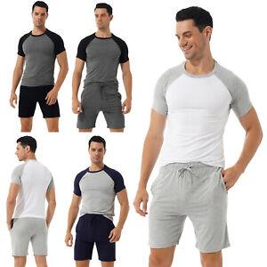 Casual Men Pajama Set Short Sleeve T-shirt with Drawstring Shorts Home Nightwear