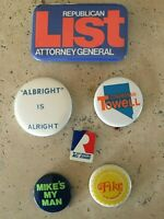 Lot of 6 1970s NEVADA STATE Political Buttons Fike Albright List Towell Raggio