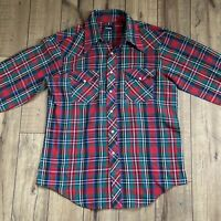 Vintage Prentiss Pearl Snap Plaid Button Down Shirt Men's Large red green blue