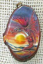 MYSTIC DRAGON ~ Fire Sun Mountain Scene Orange Red Purple Natural Wood Plaque