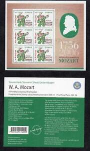 SWEDEN MNH 2006 250TH ANV OF MOZART SOUVENIR SHEET