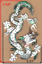 PH113# Dragon Headstock Inlay Abalone, Black, White Mother of Pearl