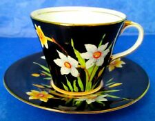 Aynsley RARE Dramatic Black with Daffodils Hand Painted Cup & Saucer 1930s