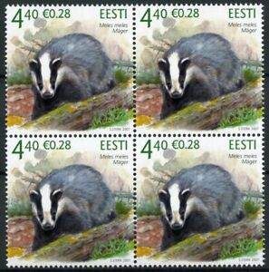 Estonia Fauna Stamps 2007 MNH Badger Badgers Wild Animals Fauna 4v Block