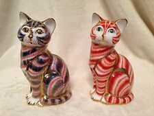 *SET OF 2* ROYAL CROWN DERBY Paperweight BLUE and GINGER CAT SITTING w/Plugs