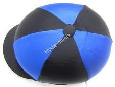 Nero & Blu Royal Equitazione Cappello seta Copertura per casco da fantino TAPPI Taglia Unica