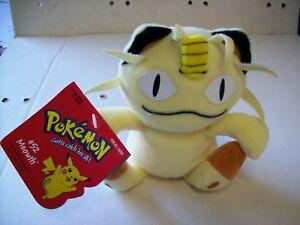 "Pokemon Hasbro Meowth 6""  Bean Bag Series 1 Plush New from master carton!"