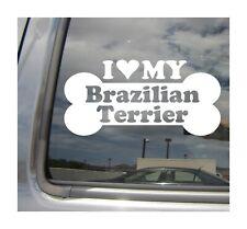 I Heart Love My Brazilian Terrier - Dog Bone Car Vinyl Decal Sticker 13210