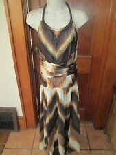 BANANA REPUBLIC SILK HALTER DRESS Shades of Brown Size 14 NWT