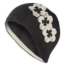 Flower Black Swim Hat Cap White Petals Ladies Women Female Bathing Cap