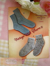 Vintage Knitting Pattern 1950s Lady's Socks In 2 Styles JUST £1.99 + FREE P&P