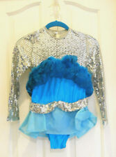Vintage Girls Long Sleeve Teal Ice Skating Dress Feathered And Sequined Size M