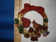 Cardinal Ornament Metal Wreath with Cardinals 3137 197