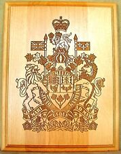 CANADA  Canadian  Coat Of Arms Large Highly Details  Engraved Wooden Plaque