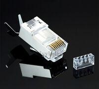 10x CAT 6A 7 50 micron Shielded RJ45 8P8C Crimp Plug Lan Network Connectors