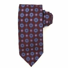 Canali Mens 100% Silk Tie Necktie Dark Purple Blue Geometric Square Check Italy