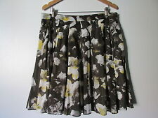 Brooklyn Industries Brown Floral Print Pleated 100% Cotton Skirt NWOT SZ: 14