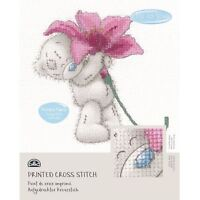 DMC Me to You Tatty Teddy Printed Cross Stitch Fabric Kit - Pink Lily