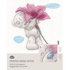 DMC Me to You Tatty Teddy Printed Cross Stitch Fabric Kit - Pink Lily