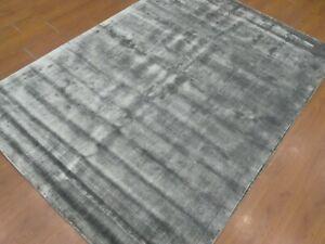 5'6x7'6 Rug | Handmade Hand Tufted Wool & Viscose Black Area Rug