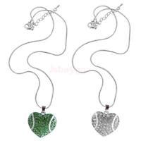 Lovely Baseball Style Rhinestone Heart Pendant Necklace Chain Fashion Jewelry