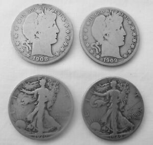 4 Silver Half Dollars 2 Barber 08 & 09  &  2 Walking Liberty 1920S & 1940