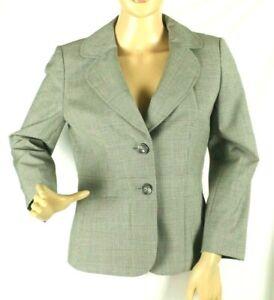 Ann Taylor Women's Black Wool Blazer Houndstooth Jacket Size 2P