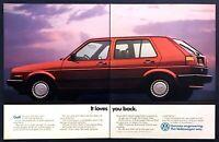 "1989 VW Volkswagen Golf Sedan photo ""It Loves You back"" 2-page vintage print ad"
