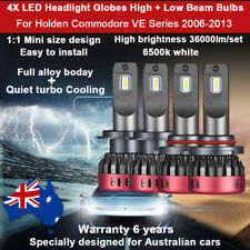 For Holden Commodore VE 2007 2008 4x Headlight Globes High Low Beam LED bulb set