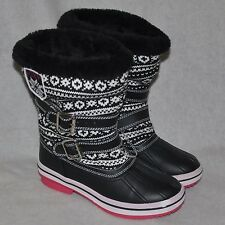 Roxy Just Chillin Knit Winter Boots Faux Fur Lined Size 7 NWOTs Black White Pink