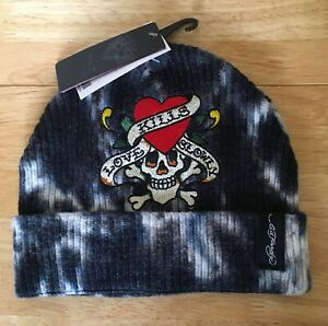ED HARDY Womens Beanie Hat Brand New With Tags Stretch Fit / Adult Size
