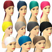 12 X Ladies Under Scarf Hijab Tie Back Bone Bonnet Cap Chemo Hat