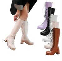 New Women Lolita Cosplay GoGo Knight Mid Calf Boots Round Toe Block Heel Shoes D