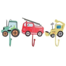 Children's Tractor Fire Engine Digger Set of 3 Boys Bedroom Coat / Door Hooks